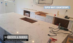 Quartzite: 3CM Super White kitchen island sink