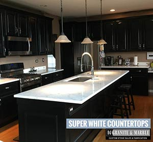Quartzite: Super white countertops on black