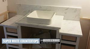 Quartzite: custom Vanity in super white