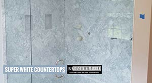 Quartzite: custom shower tile in super white