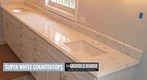 Quartzite: double vanity in super white